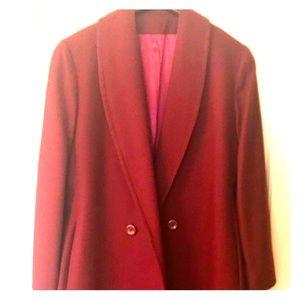Vintage Wool Burgundy Button Jacket Sz 12